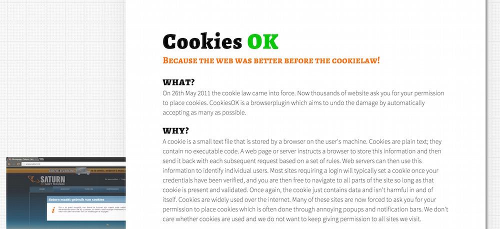 CookiesOK macht Schluss mit den Cookie-Meldungen (Bild: Screenshot CookiesOK.com).