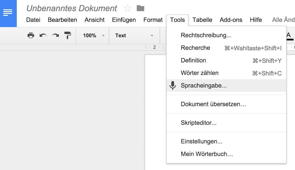 Die Spracheingabe in Google Doc ist mit zwei Klicks aktiviert (Bild: Screenshot Google Docs).