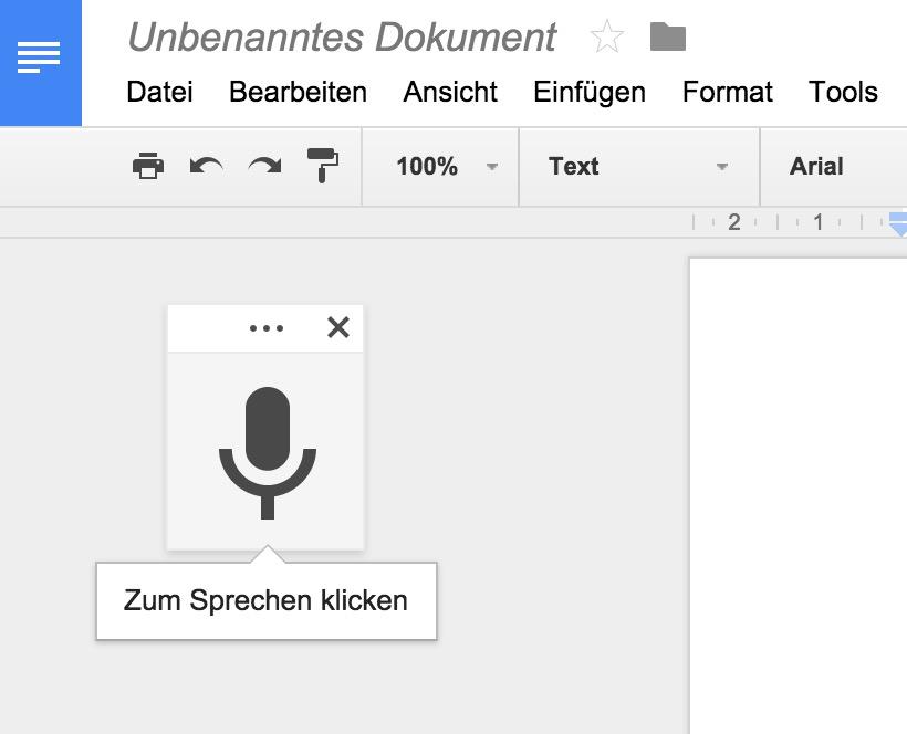 Um Text über Google diktieren zu können, muss auf das graue Symbol geklickt werden (Bild: Screenshot Google Docs).