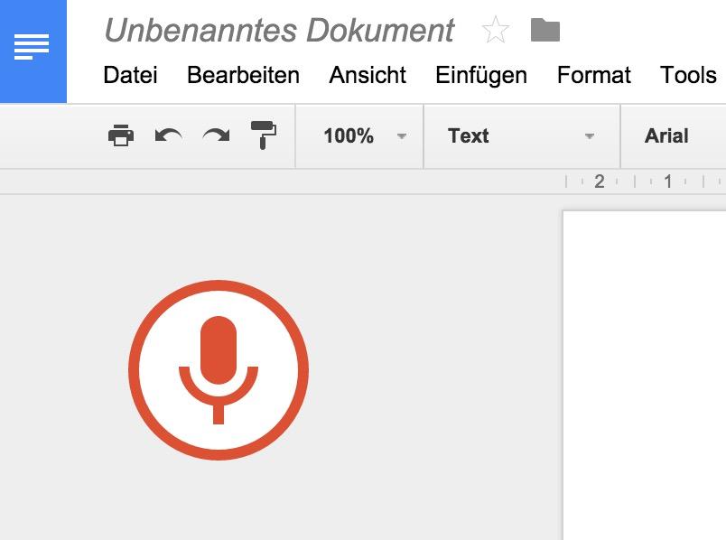 Leuchtet das Mikrofon rot, hört Google zu (Bild: Screenshot Google Docs).