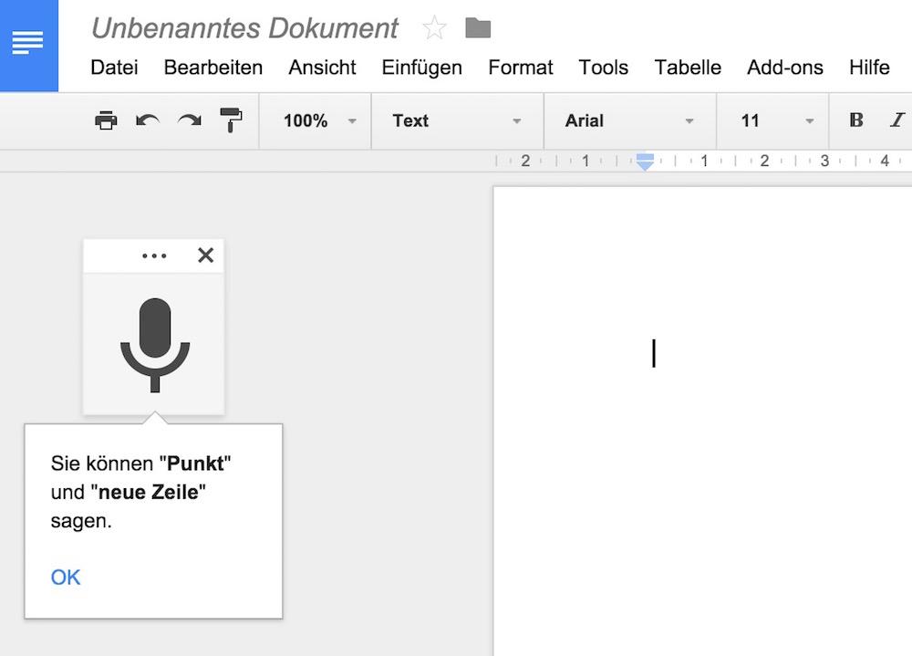 Nicht nur Text, sondern auch Satzzeichen können diktiert werden (Bild: Screenshot Google Docs).