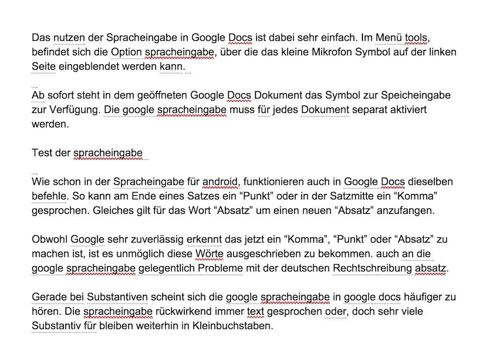 Google unterstreicht Text mit hellgrauen Punkten, wenn sich die Spracheingabe nicht ganz sicher ist (Bild: Screenshot Google Docs).