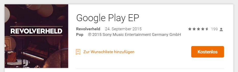 Revolverheld bietet eine kostenlose Google Play EP zum Download an (Bild: Screenshot Google Play Musik).