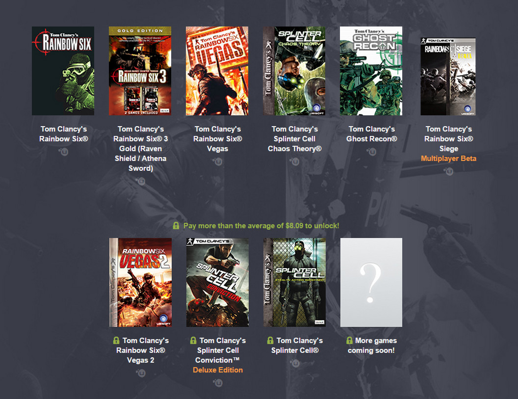 Humble Tom Clancy Bundle mit Rainbow Six, Ghost Recon und Splinter Cell (Bild: Screenshot Humble Bundle).