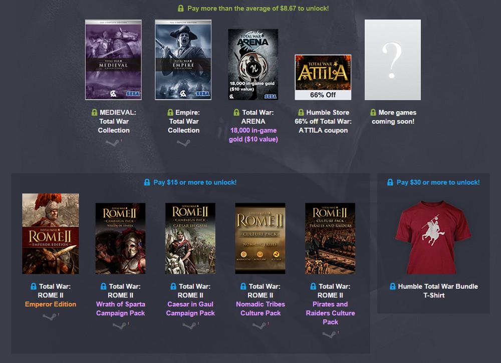 Das Humble Total War Bundle verspricht viel Spielspaß für Strategen (Bild: Screenshot Humble Bundle).
