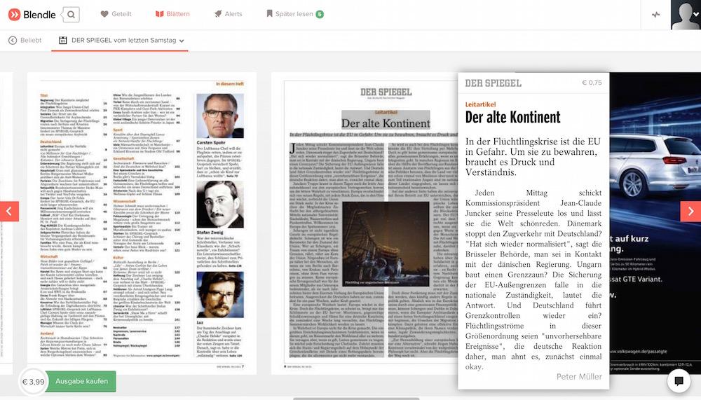Kauf einer ganzen Ausgabe über Blendle (Bild: Screenshot Blendle).