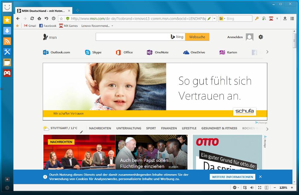 Maxthon Cloud Browser akommt vorinstalliert auf einem Lenovo Business Laptop (Bild: Screenshot Maxthon Cloud Browser).