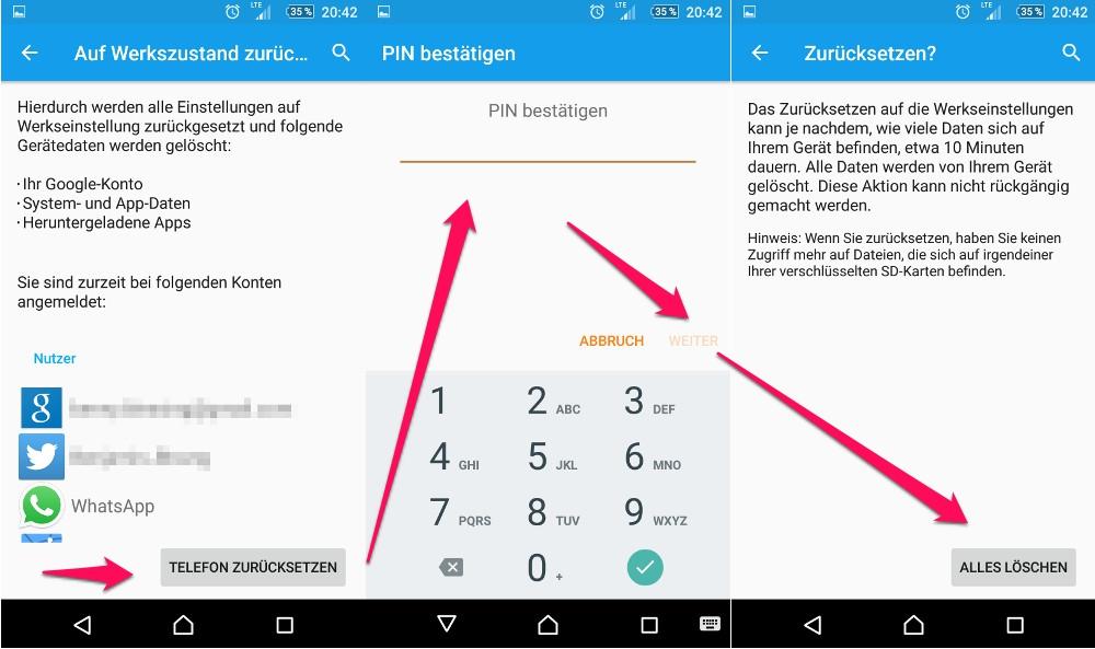 Sony Xperia Z3 zurücksetzen auf Werkszustand (Bild: Screenshot Android).