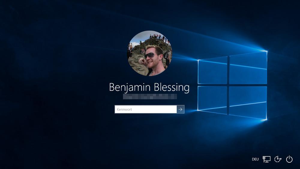 Der Windows 10 Login Hintergrund entspricht normalerweise dem Desktop-Hintergrund (Bild: Screenshot Windows 10).