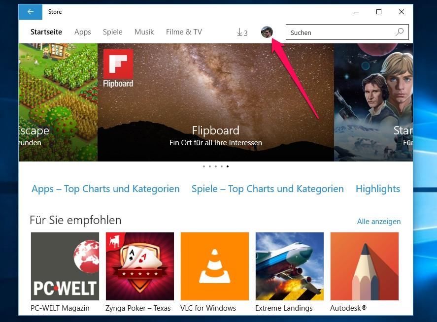 Die Windows Store Einstellungen befinden sich hinter dem Profilbild des Nutzers (Bild: Screenshot Windows 10).