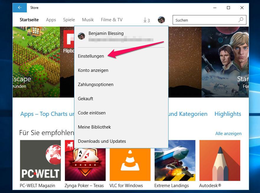 Über das Menü kann der Nutzer die Einstellungen zum Windows Store aufrufen (Bild: Screenshot Windows 10).