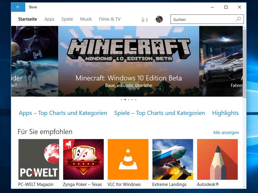 Der Windows Store unter Windows 10 (Bild: Screenshot Windows 10).