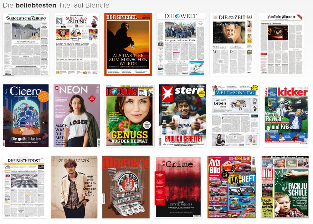 Das Zeitungsangebot bei Blendle zum Deutschlandstart (Bild: Screenshot Blendle).