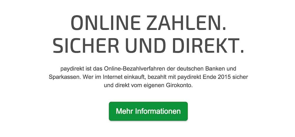 Die Informationen für Interessierte zu paydirekt sind sehr dünn (Bild: Screenshot paydirekt.de).