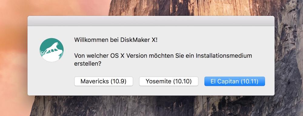 Mit DiskMaker X lässt sich ein bootfähiger USB-Stick für OS X erstellen (Bild: Screenshot DiskMaker X).