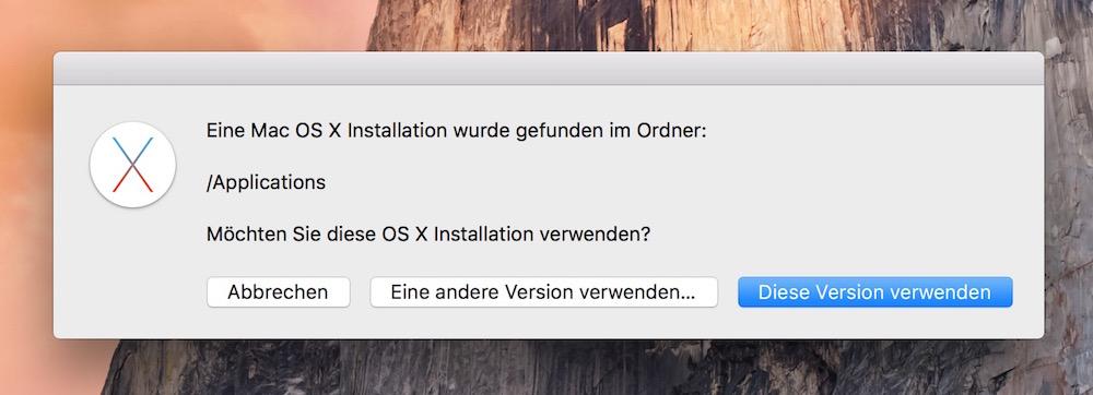Der Installationspfad von OS X El Capitan kann von Hand geändert werden (Bild: Screenshot DiskMaker X),