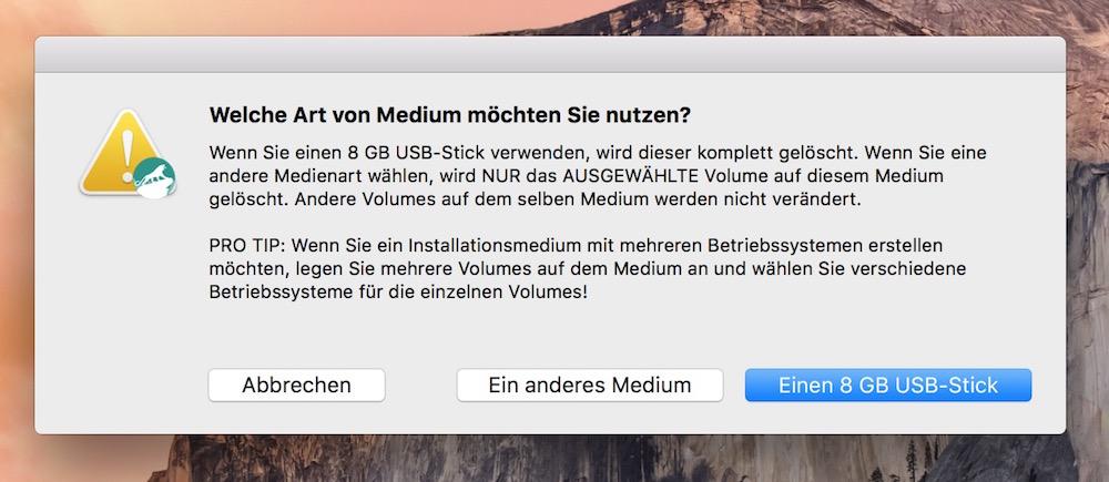 DiskMaker X erstellt einen bootfähigen USB-Stick für OS X El Capitan (Bild: Screenshot DiskMaker X).