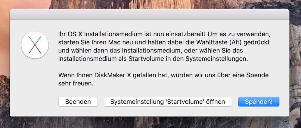 Jetzt steht der bootfähige USB-Stick zur OS X Installation zur Verfügung (Bild: Screenshot DiskMaker X).