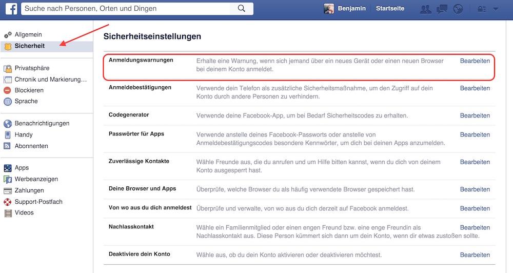 Die Sicherheitseinstellungen beinhalten die Möglichkeit die Anmeldewarnung für Facebook zu aktivieren (Bild: Screenshot Facebook).