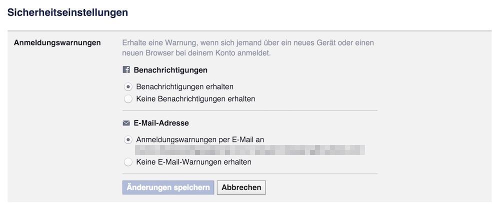 Jede E-Mail Adresse die bei Facebook hinterlegt ist, bekommt die Anmeldewarnungen (Bild: Screenshot Facebook).