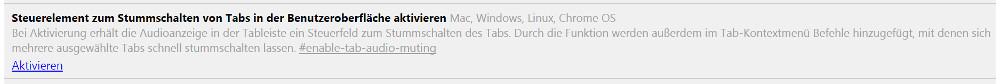 Google Chrome Steuerelement zum Stummschalten von Tabs aktivieren (Bild: Screenshot Google Chrome).