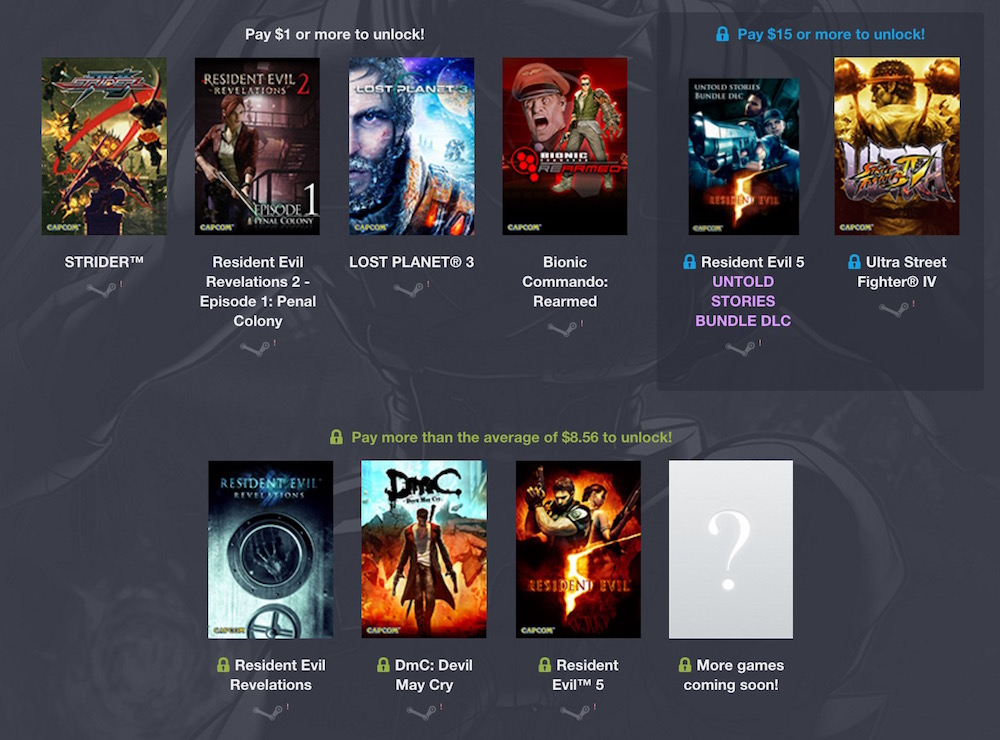 Das Humble Capcom Bundle beinhaltet Resident Evil und Street Fighter (Bild: Screenshot Humble Bundle).
