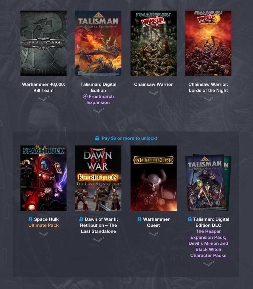 Humble Weekly Bundle: Games Workshop (Bild: Screenshot Humble Bundle).