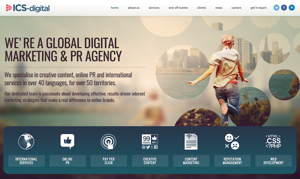 ICS-Digital bewirbt sich als internationale Marketing Agentur (Bild: Screenshot ICS-Digital).