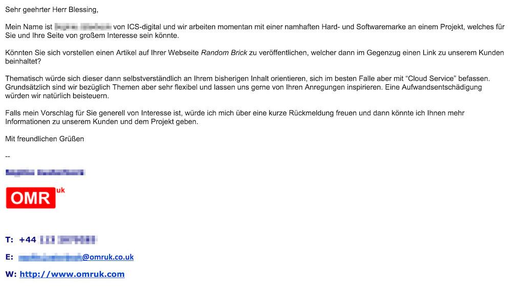 Egal ob über OMRUK oder ICS-Digital, neben dem Artikel ist auch das Setzen eines Backlinks wichtig (Bild: Screenshot Gmail).