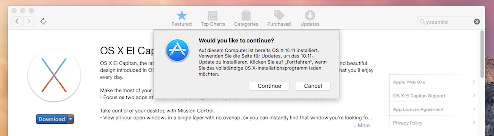OS X El Capitan über den Apple App-Store herunterladen (Bild: Screenshot iTunes).