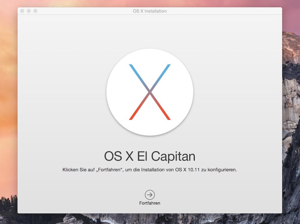 OS X El Capitan installieren (Bild: Screenshot OS X).