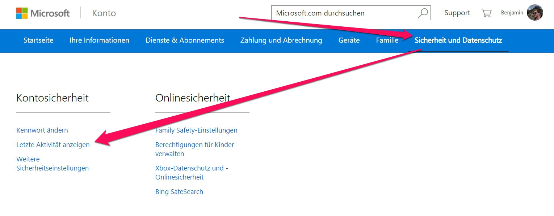 """In den Kontoeinstellungen zu Outlook gibt es die Option """"Sicherheit und Datenschutz"""" (Bild: Screenshot Outlook.com)."""