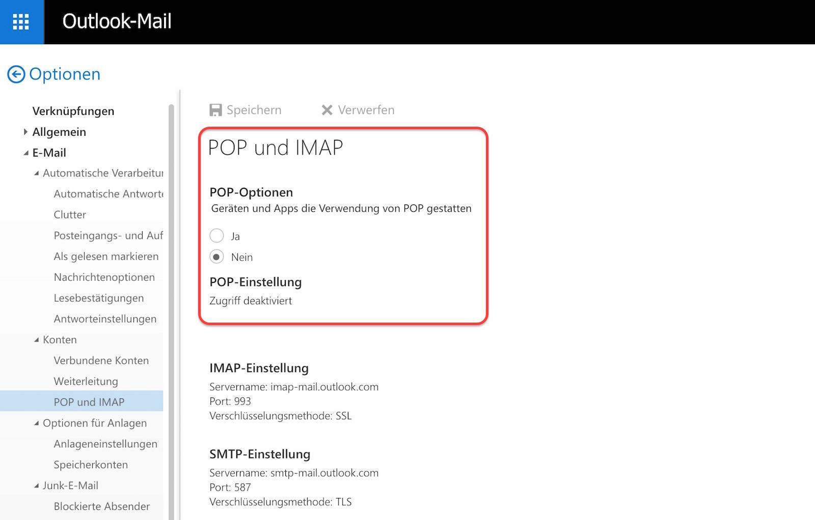 Outlook deaktiviert Pop und IMAP Funktion automatisch