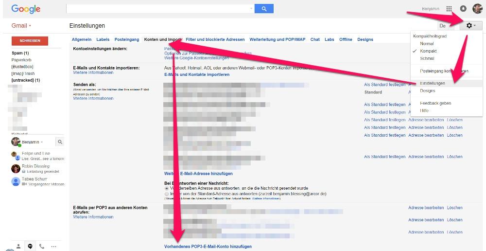 Gmail enthält eine Option zum Abruf von POP3 E-Mail Konten (Bild: Screenshot Gmail).