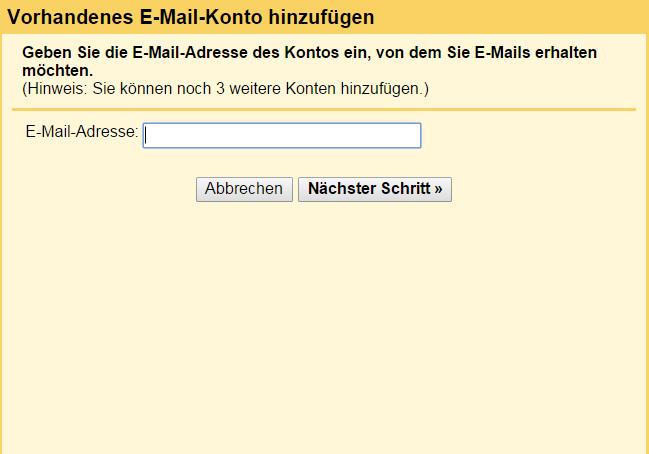 Das erste Fenster fragt nach der E-Mail Adresse die abgerufen werden soll (Bild: Screenshot Gmail).