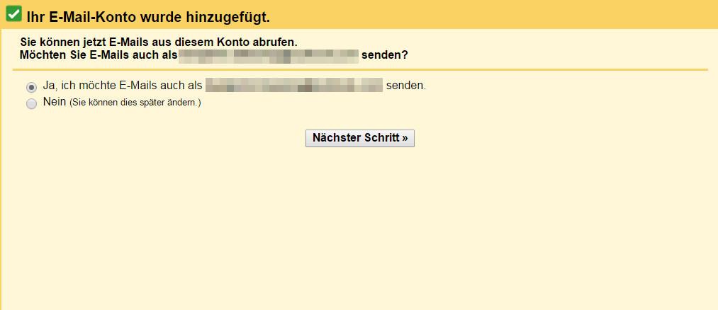 Gmail bietet zusätzlich die Option, auch E-Mails über die Outlook Adresse versenden zu können (Bild: Screenshot Gmail).