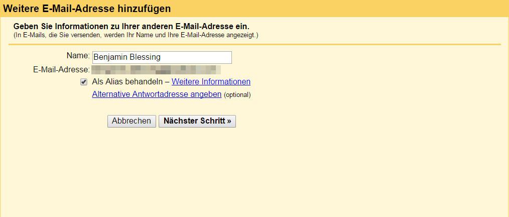 Outlook.com E-Mails über Gmail versenden (Bild: Screenshot Gmail).