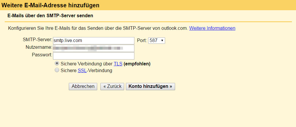 Gmail benötigt den SMTP-Server von Outlook, damit E-Mail entsprechend versendet werden können (Bild Screenshot Gmail).
