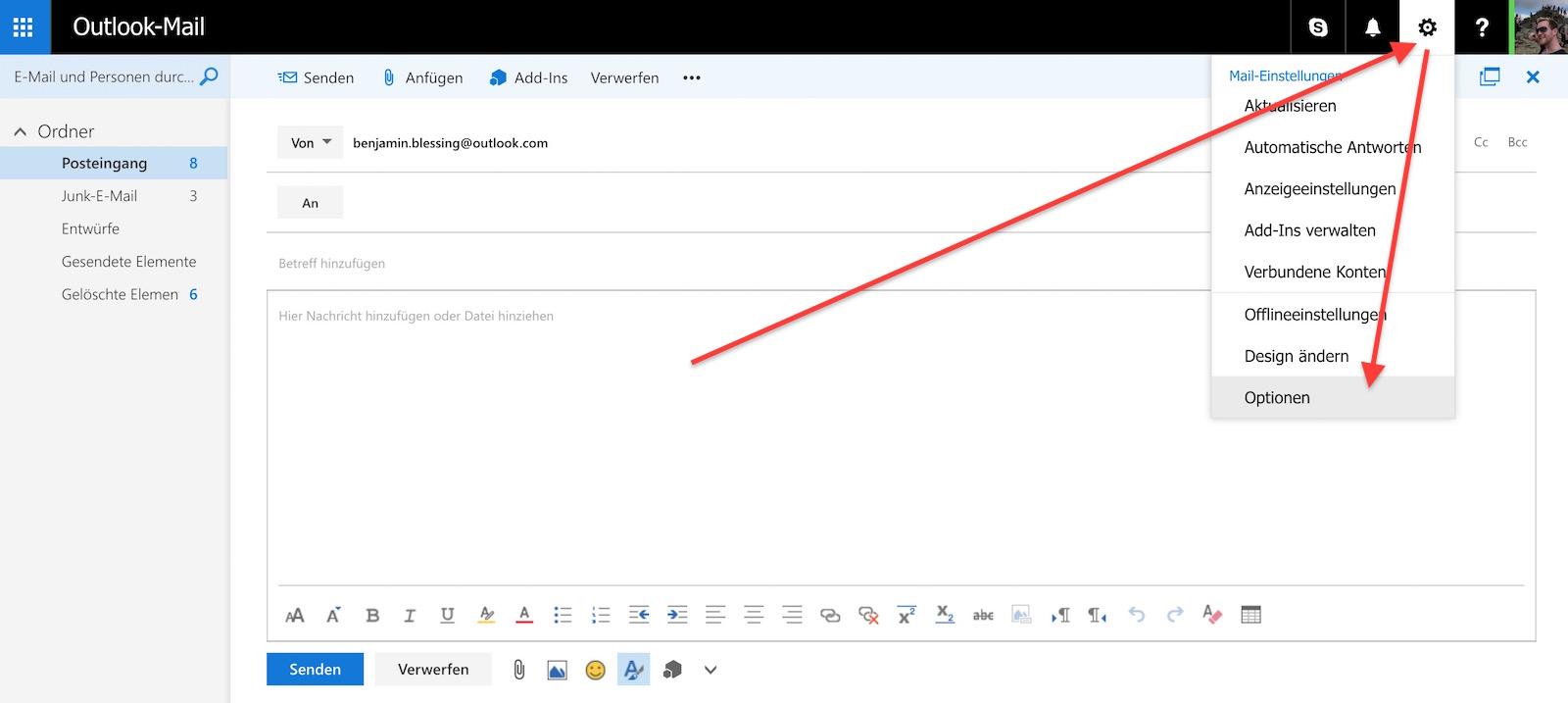 POP und IMAP Nutzung für Outlook.com freischalten