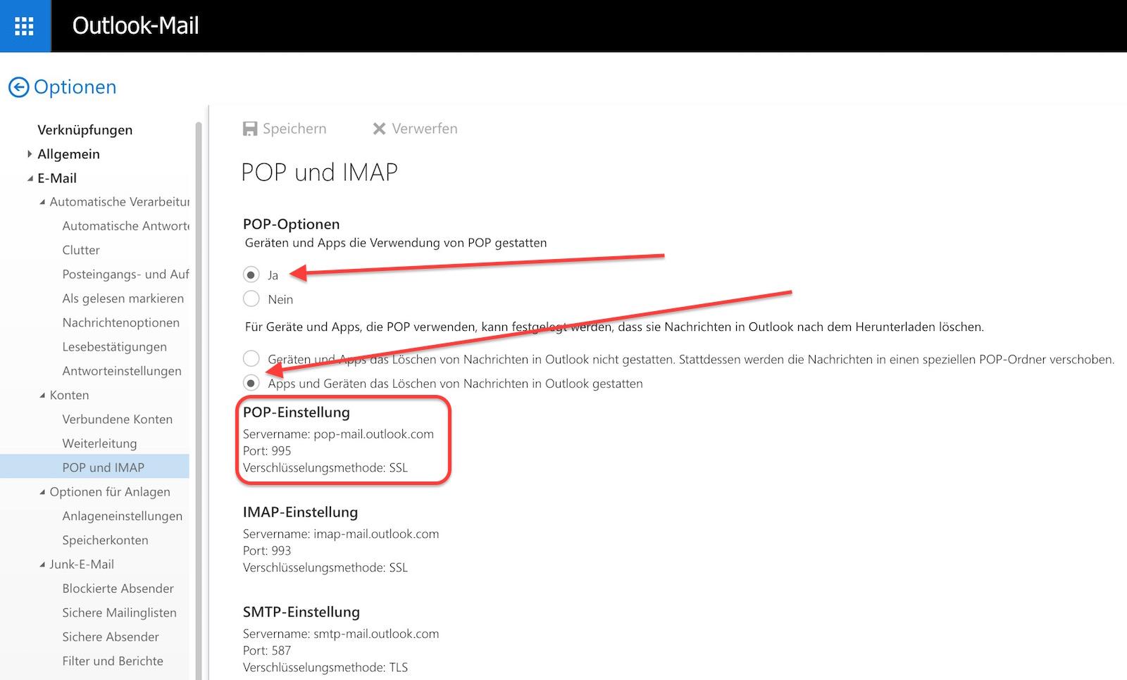 Pop und IMAP Abruf über Outlook