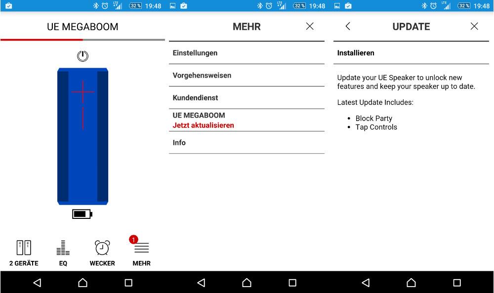 Der Partymodus für den UE Boom 2, die UE Roll und den UE Megaboom werden per Software-Update geliefert (Bild: Screenshot UE Megaboom App).