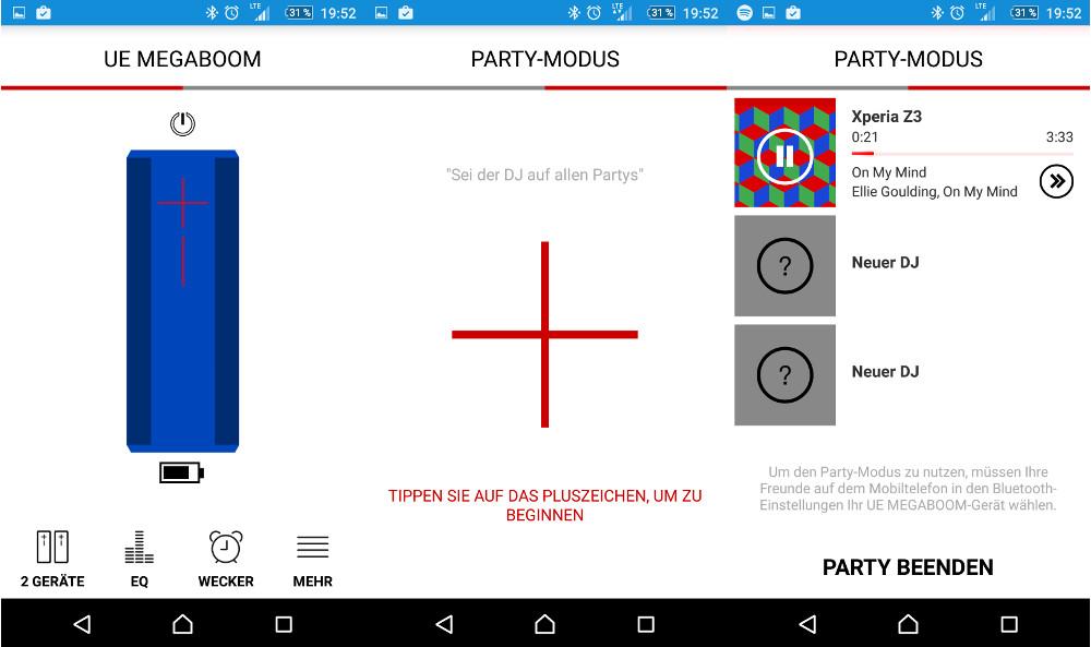 Mit einem Swipe nach rechts ist der Partymodus auf den Ultimate Ears Bluetooth-Lautsprechern verfügbar (Bild: Screenshot UE Megaboom App).