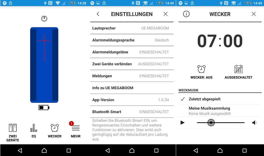 Die UE Megaboom App ermöglicht das Konfigurieren des Lautsprechers (Bild: Screenshot Android).
