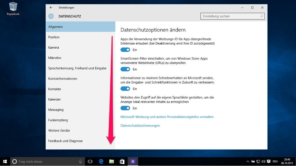 Die Optionen zu den Datenschutzeinstellungen sind vielschichtig (Bild: Screenshot Windows 10).