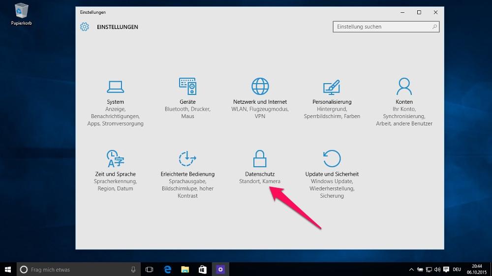 Die Einstellungen zum Windows 10 Datenschutz beinhalten auch die Hintergrund-Apps (Bild: Screenshot Windows 10).