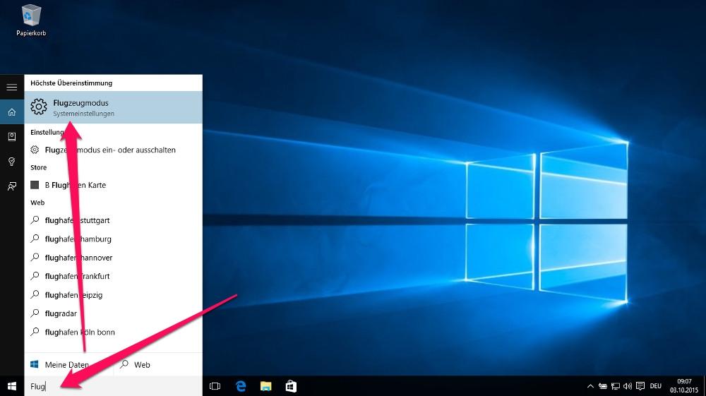 Den Flugzeugmodus unter Windows 10 über die Einstellung aktivieren (Bild: Screenshot Windows 10).