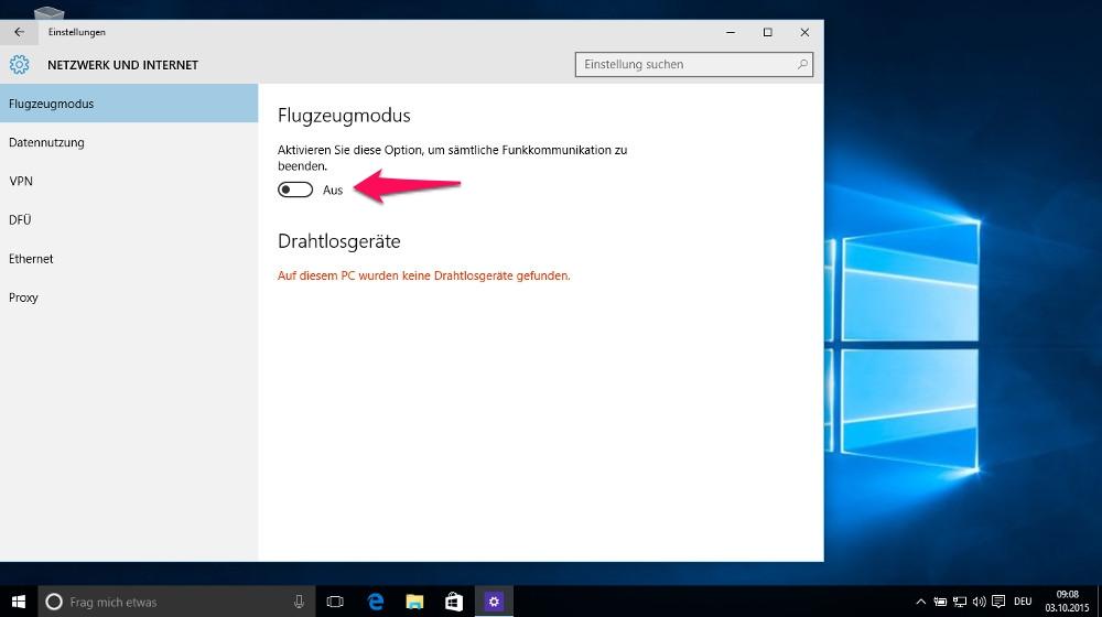 Für den Flugzeugmodus unter Windows 10 ist in den Einstellungen nur ein Schalter zu betätigen (Bild: Screenshot Windows 10).