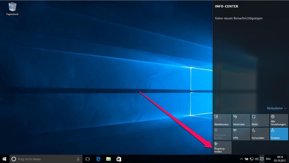 Im Windows 10 Info-Center befindet sich ein Schnellzugriff um den Flugzeugmodus zu aktivieren (Bild: Screenshot Windows 10).