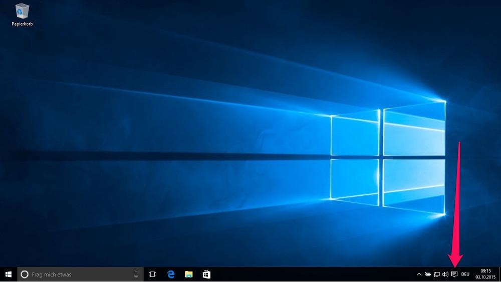 Das Info-Center lässt sich unter Windows 10 mit einem Klick auf das entsprechende Menü in der Taskleiste aufrufen (Bild: Screenshot Windows 10).
