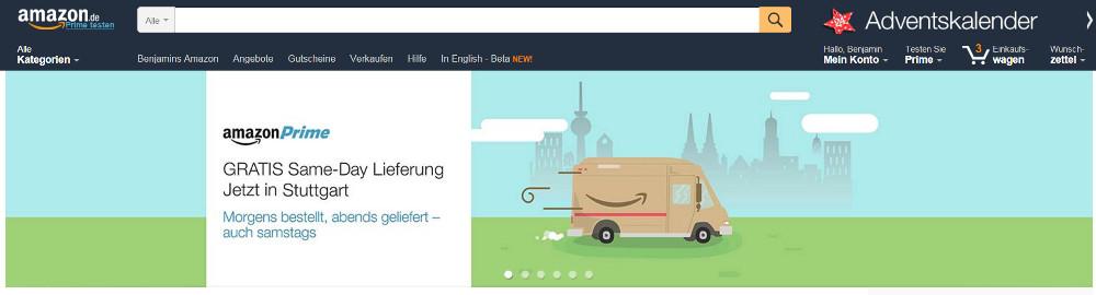 Amazon Prime ist als kostenlose Same-Day Lieferung in 14 deutschen Städten verfügbar (Bild: Screenshot Amazon).